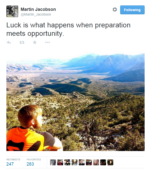 Martin Jacobson on twitter  2 days before winning the 2014  WSOP Main Event