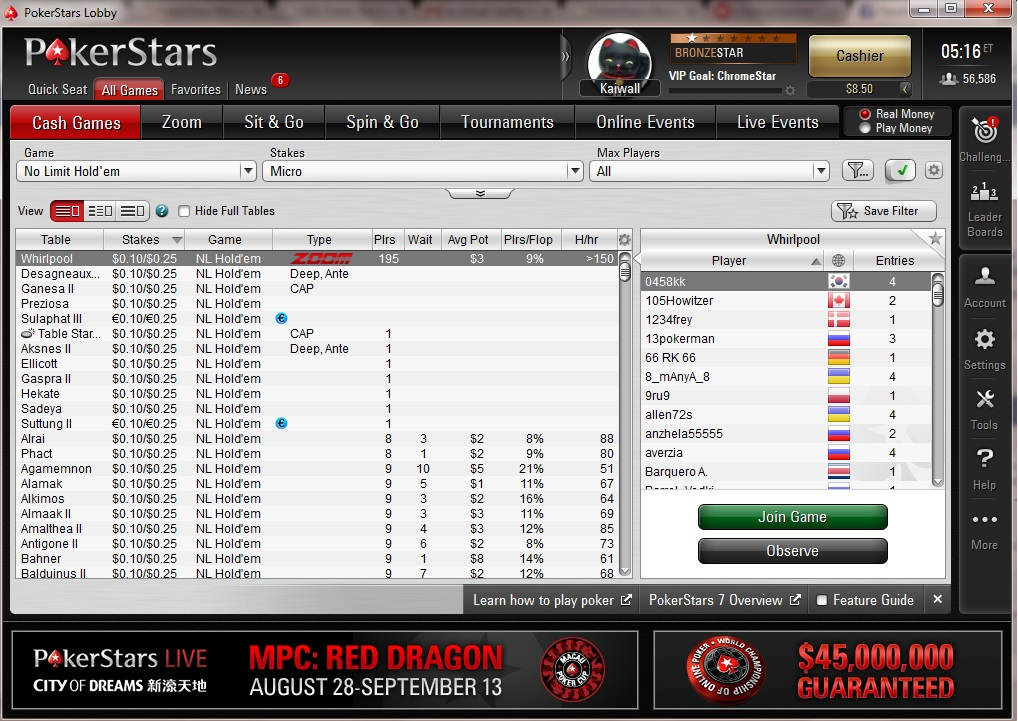 test pokerstars