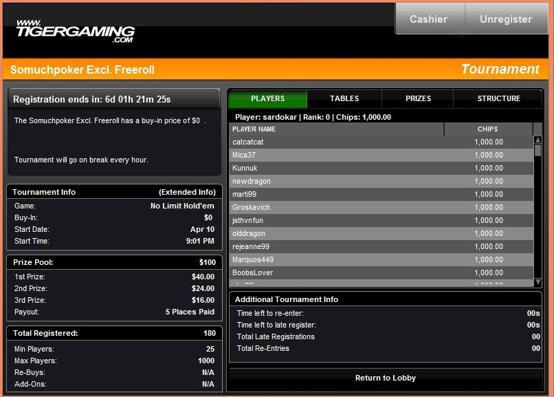 Tigergaming freeroll