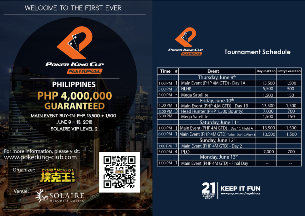 Poker King CUP Schedule