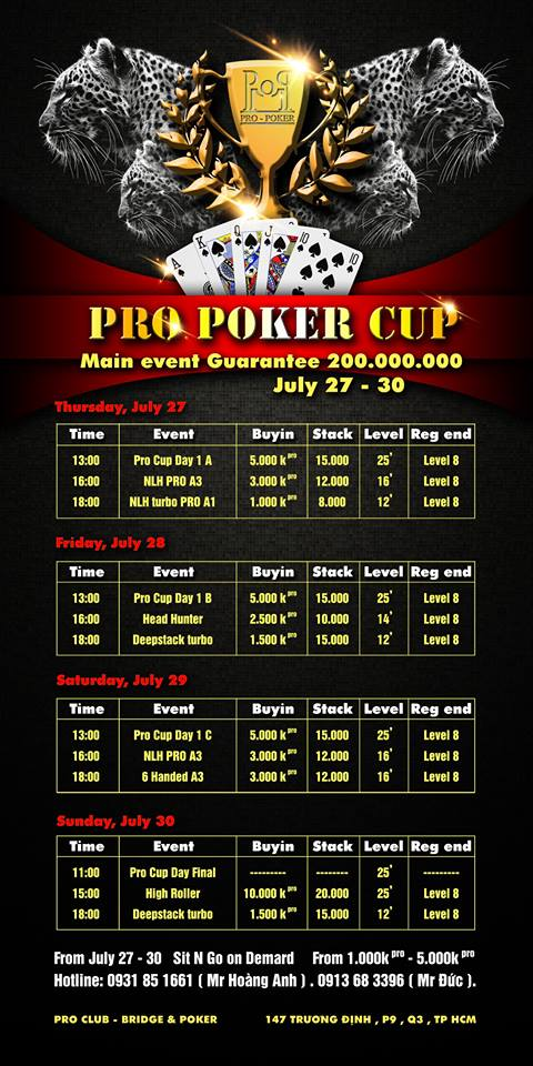 Pro Poker CUp Schedule