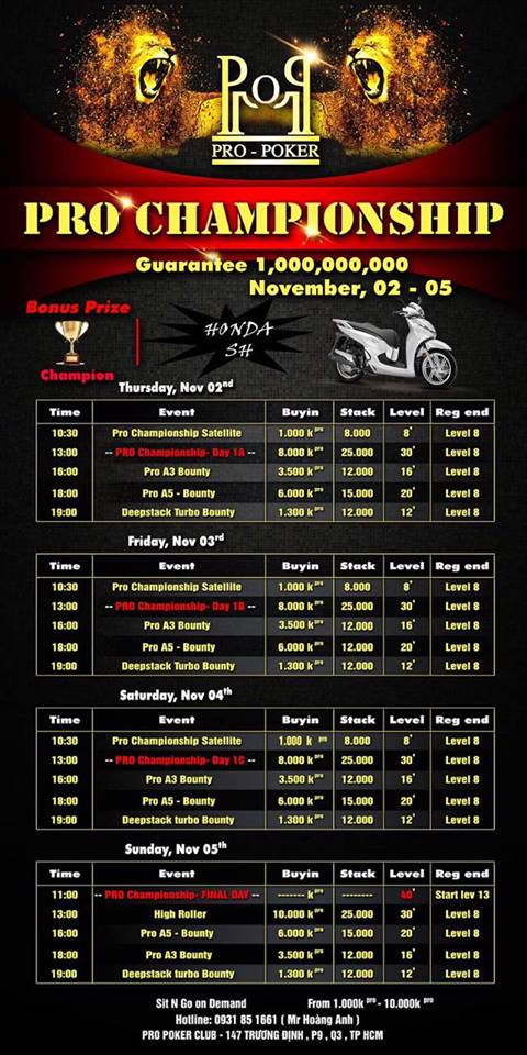 Schedule PRO POKER CLUB