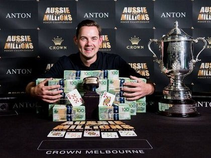 Toby Lewis wins the 2018 Aussie Millions Main Event