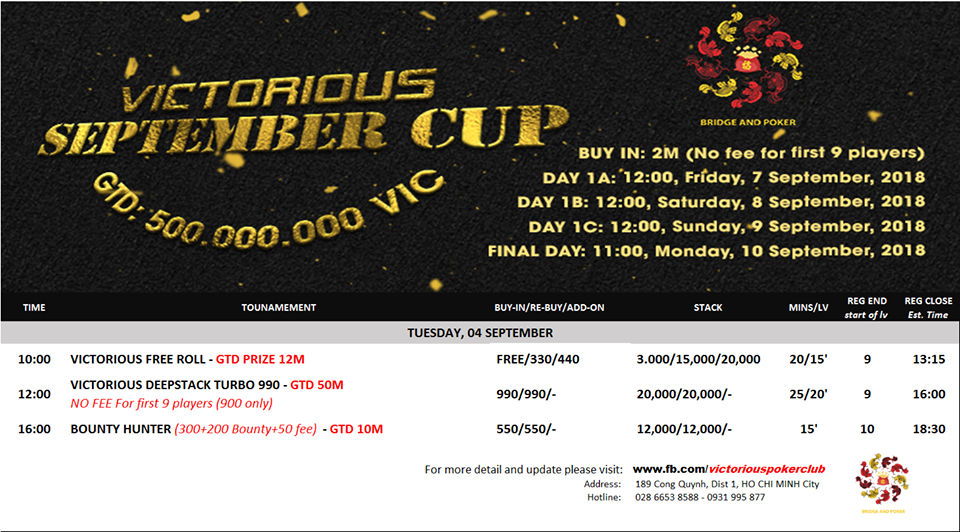 victorious poker tournament schedule