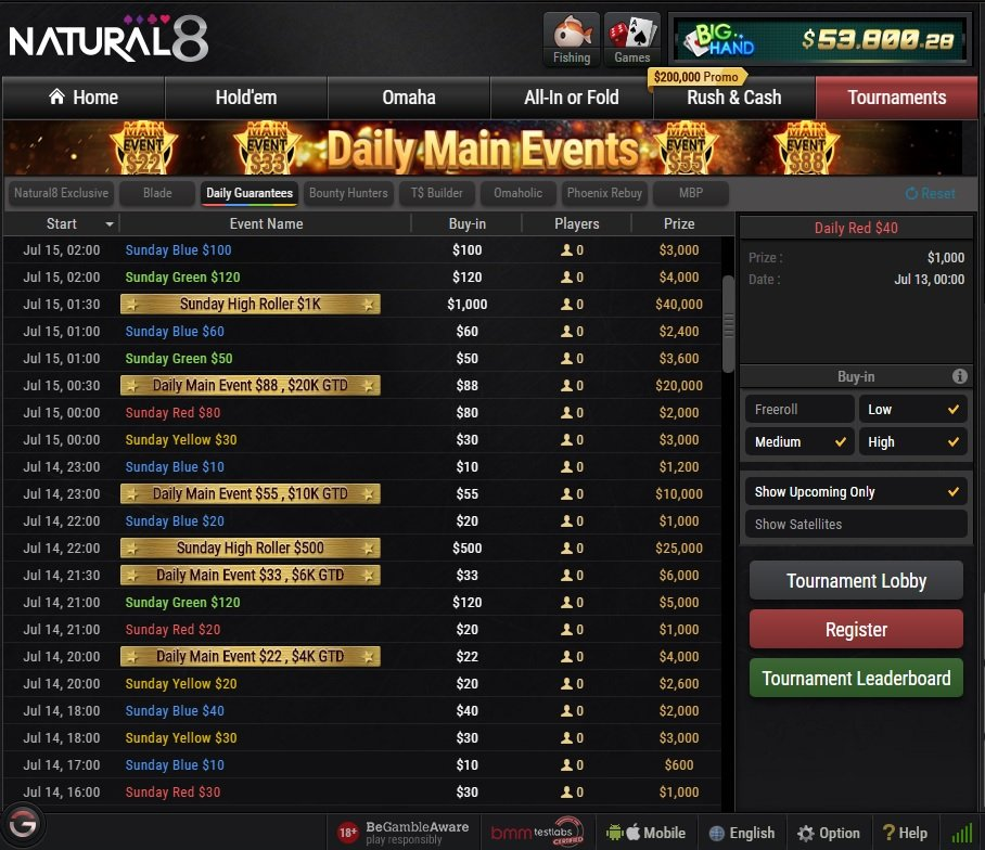 Natural8 Tournaments Board