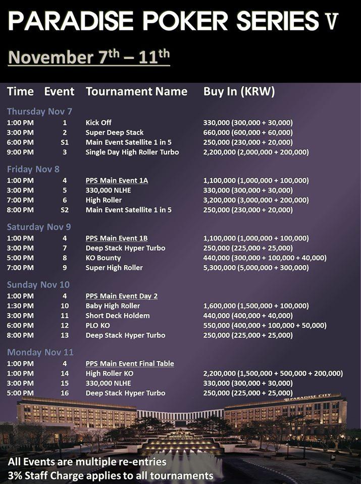 Paradise City Paradise Poker Series 5 Schedule