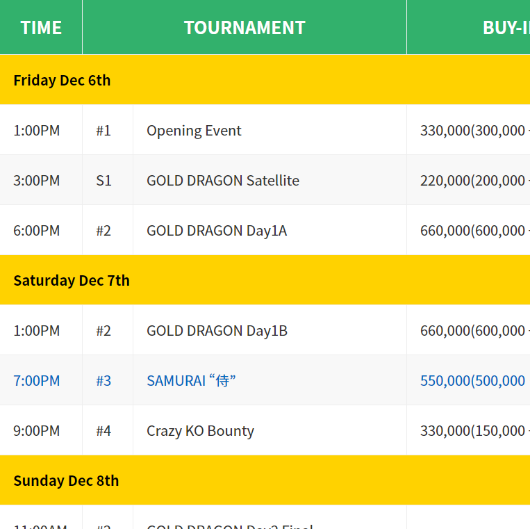 All Japan Poker Championship (AJPC) Asian Circuit – Festival 2019 Schedule