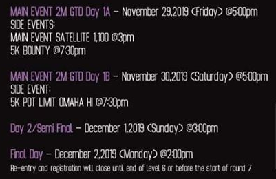 Asia Poker League APL Guerilla Festival Schedule