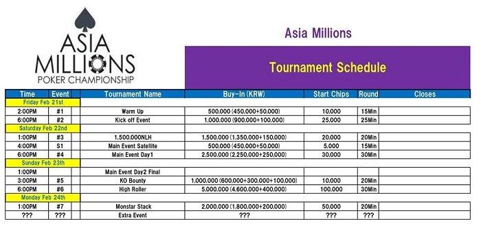 AJPC Asia Millions Poker Championship Schedule