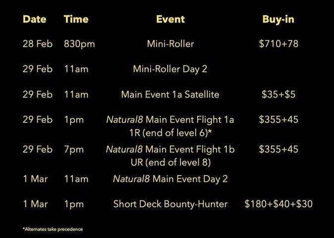 The Singapore Poker Championships XVI Schedule