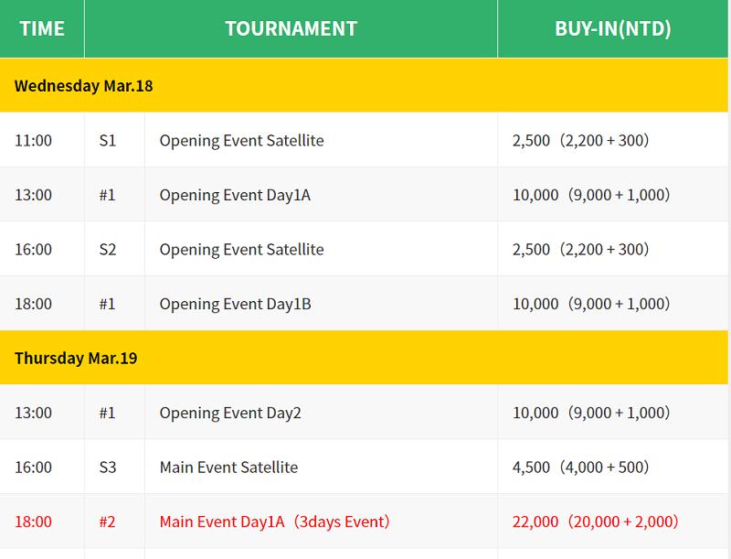 AJPC Asian Circuit Taiwan 2020 Schedule
