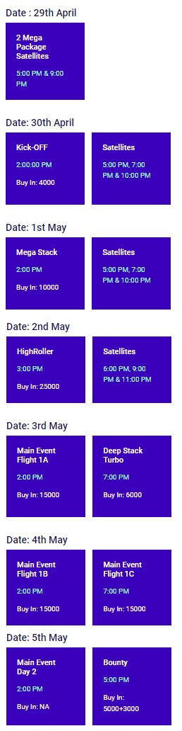 National Poker Series India 2020 Schedule (POSTPONED)