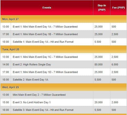 Asian Poker Tour (APT) Philippines 2020 Schedule