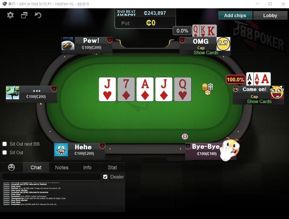 J88 Pokertable