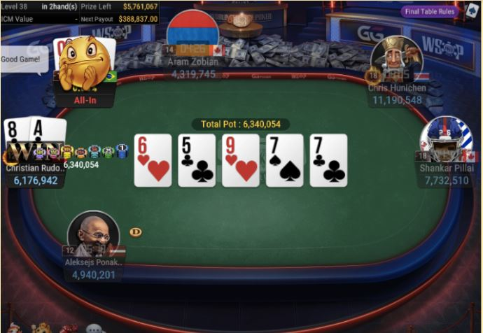 WSOP 70 25K NLH POKER PLAYERS CHAMPIONSHIP Straight For Winner Rudolph