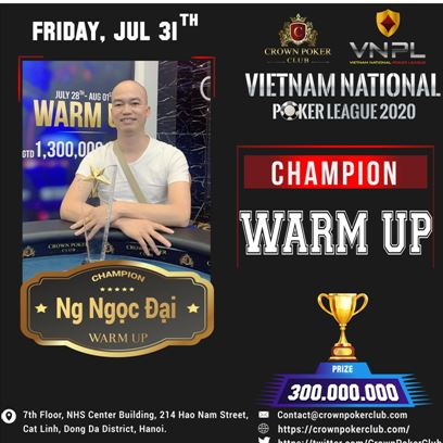 Vietnam Poker League Warmup Event Winner