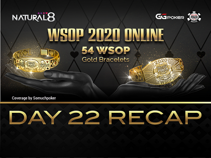 2020 WSOP Online - Natural8: Asia Championship winner Luis Assuncao Garla and GGMasters champions Anatoly Suvorov and Seth Fischer lock up bracelets