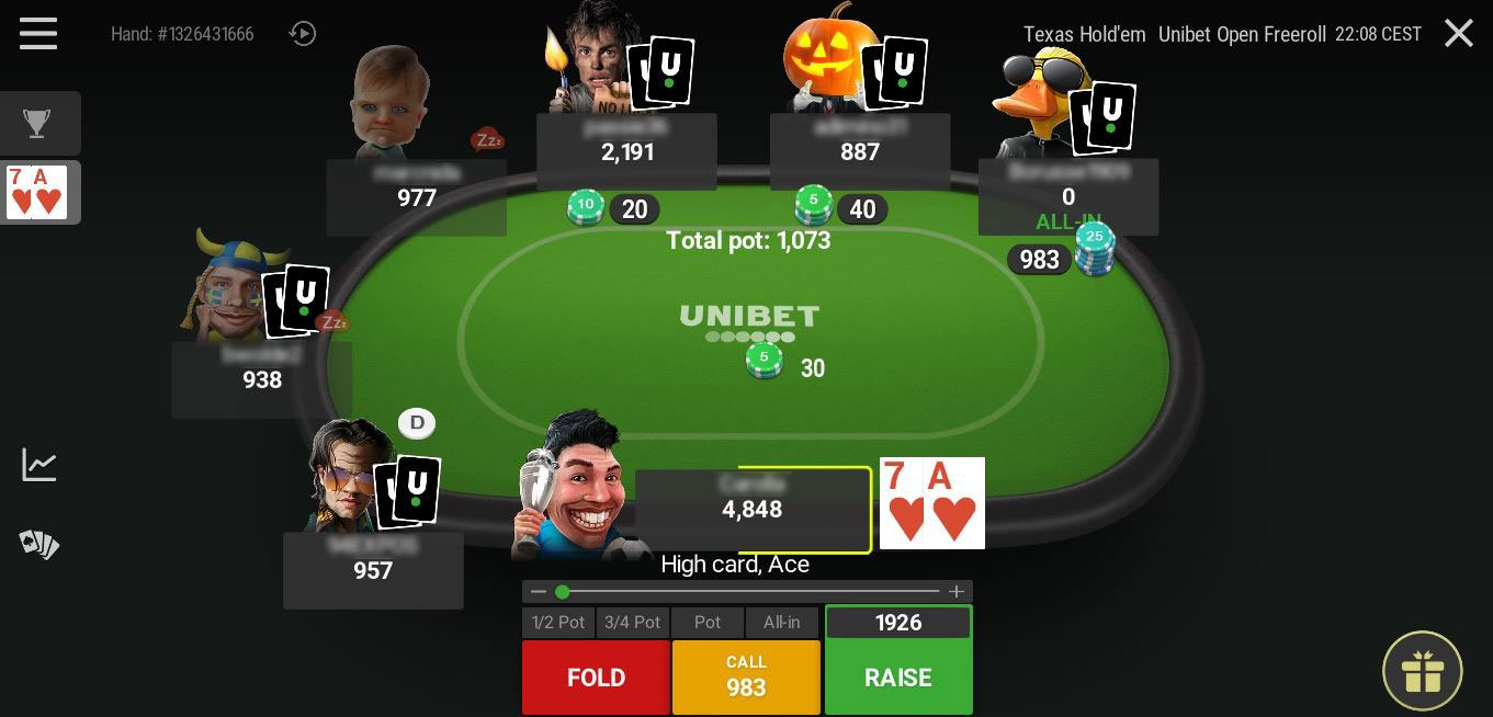 Table Unibet 2 Freeroll DONE